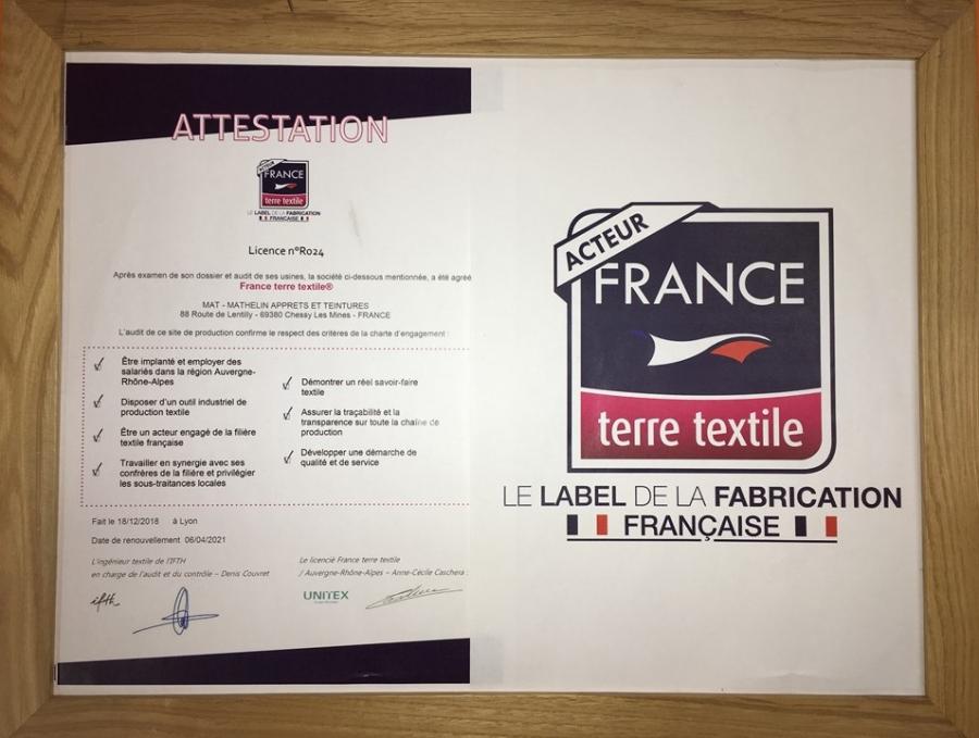 Certification France Terre Textile pour MAT